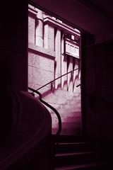 Stairs in burgundy (daniel_james) Tags: 2016 leipzig saxony germany europe zentrum auerbachskeller lunch mittagessen colourmonochrome canon1022mm burgundy stairs celler