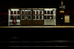 Waiting for Hopper (Apionid) Tags: waiting station edwardhopper homage traintrack shelter nikond7000 night werehere hereios 366the2016edition 3662016 day281366 7oct16 lichfield trentvalleystation