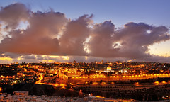 Golden Hour [Explored] (DILLEmma Photography) Tags: skyline nightshot exposure sky clouds jerusalem israel lights nightlights citycenter mountofolives view bluehourgroves