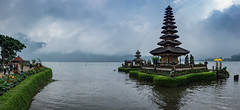 Pura Ulun Danu Bratan (Water Temple) (ben_leash) Tags: blue sony a77 bali indonesia temple lake fog mist mountains hindu panorama panoramic