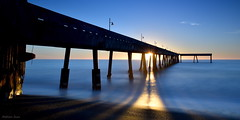 [Fishing Pier at Bright Dusk] (miltonsun) Tags: pier pacifica california shore longexposure dusk seascape bay ngc bayarea wave ocean bridge pacificocean evening sunset landscape seaside