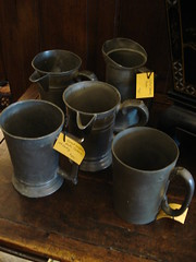 "SELECTION OF PEWTER TANKARDS AND ARGYLES. • <a style=""font-size:0.8em;"" href=""http://www.flickr.com/photos/51721355@N02/30287372875/"" target=""_blank"">View on Flickr</a>"