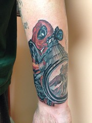 Dead pool tattoo by Wes Fortier - Burning Hearts Tattoo Co. 1430 Meriden Rd.  Waterbury, CT