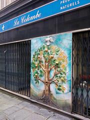 Paris 2014 - la colombe / the dove (Hanoi1933) Tags: france tree bird magasin dove boutique storefront rue vitrine parigi 2014 devanture lacolombe  parisstreetart   pariswallart