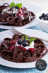Chocolate pasta (Thinkarete) Tags: food brown texture cooking closeup dark dessert healthy italian pattern different berries dish sweet sauce cut chocolate unique decorative dough side details egg cream curls pasta fresh sheets gourmet blueberry homemade raspberry treat unusual cocoa jam indulgence tagliatelle whipped nutrition ingredient fettuccine knead zzzabhaaahgmhccndjdbdcda