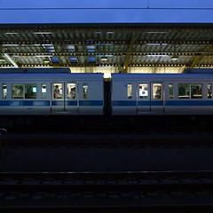 the station at twilight (akhr1961) Tags: light train dusk passengers stop gr4
