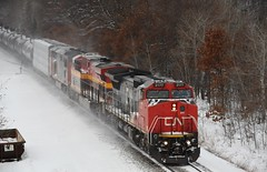 Here comes a snowstorm (ryanberrend) Tags: winter snow wisconsin cn train orchard custer canadiannational stevenspointwisconsin custerwisconsin orchardwisconsin