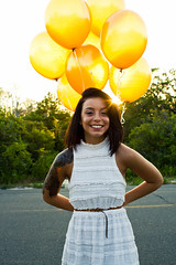happy days (Mark Daniel Photography) Tags: ocean park county new light brown sun white beach nature girl smile yellow balloons outdoors island seaside dress state tattoos jersey brunette