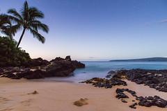 Makena Cove sunrise (mizouse) Tags: ocean longexposure beach sunrise canon stars hawaii sand sony maui palmtree fullframe lavarock a7r makenacove metabones