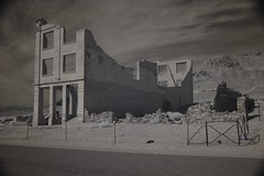 Rhyolite in color, B&W and Infrared (ctstetson) Tags: old abandoned ir town blackwhite nevada ghost mining infrared rhyolite relics stetson nir ctstetson