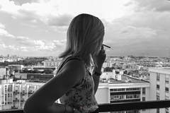 Emy | Above the City (Devezo) Tags: above city pink flowers blue white black paris girl photoshop silver nikon women general cigarette smoke air emy 1855 dx lightroom on the cs6 d3200 kralj devezo