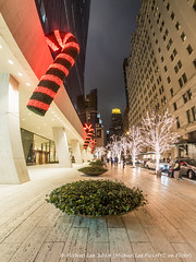 Christmas on West 58th Street (PC200885-Edit-3) (Michael.Lee.Pics.NYC) Tags: christmas holiday newyork night decoration fisheye candycane west58thstreet solowbuilding fisheyehemi