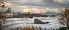 Biarritz. (Jérôme Cousin) Tags: ocean sea sky cloud sun mer rock clouds soleil nikon waves ciel terri 28 cote nuage nuages tamron vague vagues pays basque rocher euskadi cava biarritz euskal 2470 hersa d700