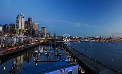 Seattle waterfront during the blue hour
