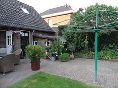 Het terras in de achtertuin (sjorsreemers) Tags: border thuis terras bloempot vlinderstruik gazon wasmolen hoogteverschil openverharding opslaghok ruimteverdeling