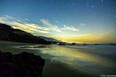 Santa Monica City Lights from Leo Carrillo Beach (Eric Zumstein) Tags: longexposure reflection beach night clouds stars santamonica leocarrillostatebeach