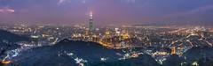 Panorama of East Taipei  (Sharleen Chao) Tags: city longexposure urban panorama building horizontal skyline night clouds skyscraper canon landscape cityscape cloudy outdoor taiwan nopeople 101 taipei nightscene bluehour taipei101  tone  highangle 101  capitalcity 1635mm   canoneos5dmarkiii