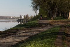 Russia, Volga, Uglich, Golden Ring (misus1504 (Elena)) Tags: street city morning travel trees light sky mist color reflection water weather canon river landscape day russia outdoor mark may volga goldenring uglich