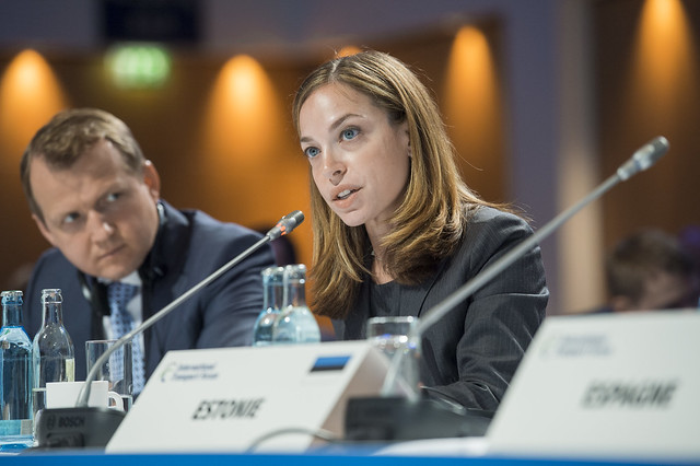 Jenny Rosenberg makes a point at the Closed Ministerial Session