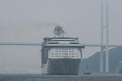 Arrival of a big cruise ship (kmmanaka) Tags: japan nagasaki cruiseship fog rain harbor internationalterminal rose