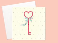 Happy Housewarming Heart Shape Key cards set (Kata Kiosk) Tags: new pink love home shop set paper hearts cards design couple key heart handmade card housewarming etsy stationery greeting stationary greetingcards paperie