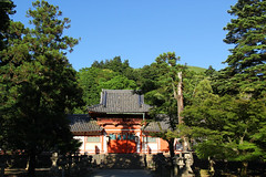 (TheOneShot (Gunnar Marquardt)) Tags: door travel blue roof light shadow summer sky sun color tree japan contrast forest canon way freedom shrine loneliness space hill silence column moment nara eos60d