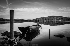 Silence At The Lake (Fredrik Lindedal) Tags: boat rope rocks reflection bw blackandwhite monochrome morning lake calm d7200 clouds sweden sverige trees water skyline onewithnature fredriklindedal