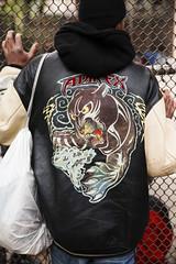 (Levi Mandel (@levimandel)) Tags: street nyc newyorkcity light basketball fence court dof natural chain jacket gothamist avirex