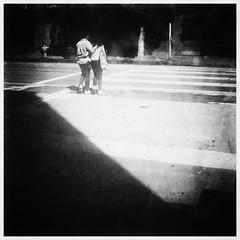 Street Crossing // May 2016 // L. A. (catskinroyale) Tags: light blackandwhite bw monochrome losangeles downtown fuji crossing shadows framed streetcrossing x100s