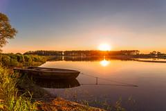 Havelberg I (Nelofee-Foto) Tags: sunset sun lake reflection nature landscape boot see boat sonnenuntergang natur silence landschaft sonne havel langzeitbelichtung havelland sonnenuntergangsstimmung