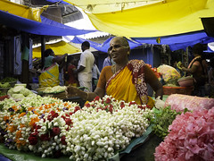 1510 India-1060991 (esther.park) Tags: centralmarket coubertmarket india pondicherry flowervendor
