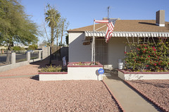 North Garfield Historic Neighborhood (GC_Dean) Tags: street city arizona sky urban house color building home colors phoenix flora cityscape colours shadows space flag bluesky structure palm sidewalk palmtree frontyard frontporch mundane emptiness clearsky urbanlandscape tornflag hardlight sociallandscape