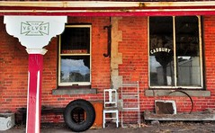 Pure Velvet Soap (holly hop) Tags: 1852 abandoned australia centralvictoria decay generalstore goldfields goldrush historic redbrick ruraldecay shop timor window cadbury courage velvet