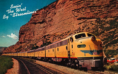 Seein' The West By 'Streamliner' vintage postcard scan (Old_Things) Tags: vintage postcard scan streamliner train amtrak travel railroad scenic west