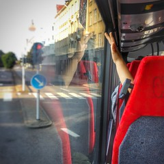 INSTAGRAM 365 Day 269: Little Bus Passenger (tomas_nilsson) Tags: instagram365 sweden malm bus traveler child passenger wave window seat red seenwhiletraveling igersmalmoe cellphonephotography lg g4 snapseed postprocessing