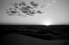 Desert Sunset with Puffy Clouds (bhop) Tags: desert imperial sand dunes park recreation area california socal nikon f4 f4s 2850mm ais kodak trix film 400tx f76 v700 bw black white blackandwhite monochrome outdoors pattern patterns nature natural roadtrip filmshooter filmcamera ishootfilm filmisnotdead clouds sky sunset light