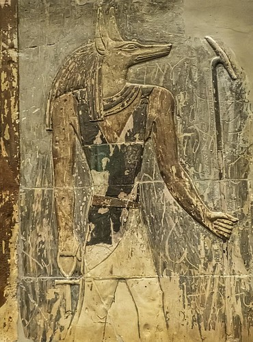 Closeup of Anubis from a Relief of statesman Mentu-em-hat and Anubis from Thebes, Egypt Late Period Late 25th to early 26th Dynasty 665-650 BCE Limestone