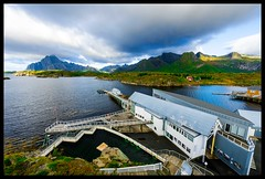 Lofoten Aquarium (Grand Mookster) Tags: nikon d610 travel norway scandinavia lofoten aquarium sky clouds mountains kabelvag