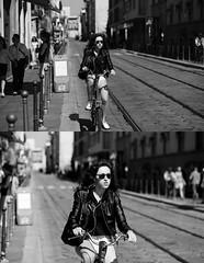 [La Mia Citt][Pedala] (Urca) Tags: portrait blackandwhite bw bike bicycle italia milano bn ciclista biancoenero mir bicicletta 2014 pedalare dittico nikondigitale ritrattostradale 691185