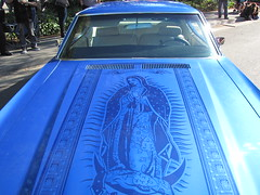 Blue Lowrider Car with Virgin Mary Art (shaire productions) Tags: street blue art classic cars vintage design artwork automobile image artistic outdoor painted traditional details wheels picture oldschool malibu retro mexican photograph vehicle custom rims virginmary lowrider virginofguadalupe cultural imagery carhood airbrushed carpaintjob