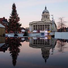 Nottingham at Christmas (DaveKav) Tags: christmas xmas nottingham reflection tree olympus noel festivity nottinghamshire marketsquare oldmarketsquare councilhouse