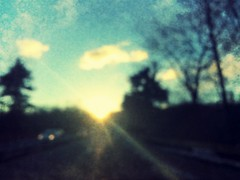 drive | 7/365 (LookingUpPhotography) Tags: road sunset blur car drive bokeh retro 365 sunflare iphone project365