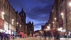 Royal Mile, Blue Hour (byronv2) Tags: autumn history night scotland twilight edinburgh cathedral dusk spire royalmile bluehour oldtown nuit edimbourg edinburghbynight saintgilescathedral