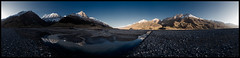 Where the At-Jailoo meets the Inylchek (doug k of sky) Tags: panorama landscape republic doug tian panoramic glacier kyrgyz shan kyrgyzstan inylchek mountainscapes engilchek kofsky dzajloo
