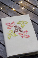DMC Falling leaves (Cozy Love) Tags: autumn leaves notebook crossstitch handmade bookcover dmc crossstitching dmccolorvariations