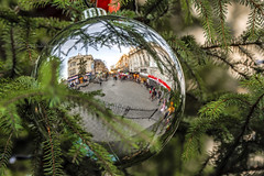 Hanging out for Christmas (alundisleyimages@gmail.com) Tags: christmas decorations liverpool buildings reflections holidays religion seasonal christmastree bauble