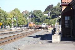 """BNSF GE C44-9W #4426 & AMTK Talgo 8 Cabcar #7910 """"Mt Jefferson"""" & AMTK EMD F59PHI #470 (busdude) Tags: 8 railway amtrak mtjefferson cascades ge bnsf talgo emd 470 f59phi amtrakcascades 4426 amtk c449w bnsfrailway 7910 cabcar"""