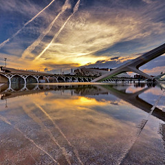 When nature copies man (Nespyxel) Tags: sunset sky valencia lines architecture reflections spain tramonto stripes cielo valenza riflessi architettura spagna ciudaddelasartesylasciencias geometrie simmetry linee geometries simmetrie simmetries caltrava nespyxel cittadelleartiedellescienze stefanoscarselli