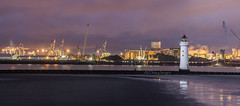 Widely Received (alundisleyimages@gmail.com) Tags: sky panorama lighthouse industry beach weather liverpool reflections river nightlights bluehour shipping industriallandscape wirral rivermersey peelholdings seaforthcontainerterminal