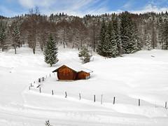 Winter scenery (aniko e) Tags: winter house snow mountains forest germany landscape bavaria hiking scene hut mittenwald kranzberg hoherkranzberg bavarianprealps